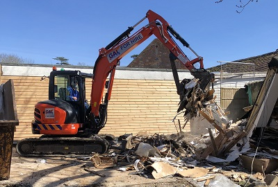 Demolition of timber buildings Wynstones School Gloucester